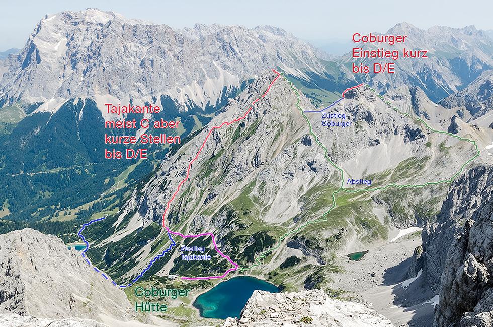 Klettersteig Coburger Hütte : Seeben tajakante coburger klettersteige