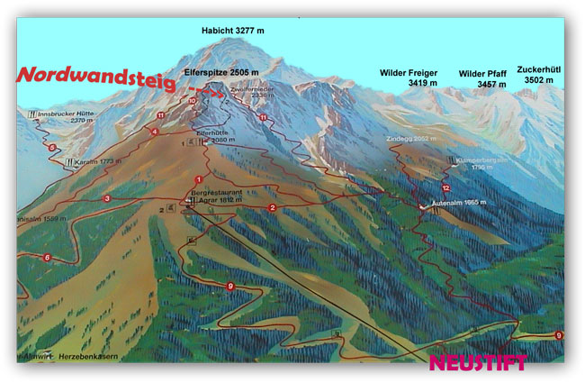 Klettersteig Innsbruck Umgebung : Orientierung elfer nordwandsteig